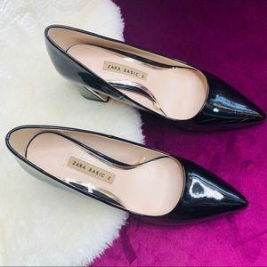 Zara Basic Black Block Heel Size 36